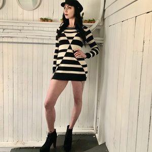 Black and cream geometric sweater